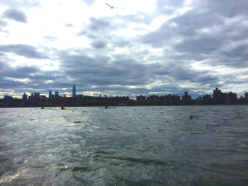 Fellow paddlers out on the East River in their sea kayaks