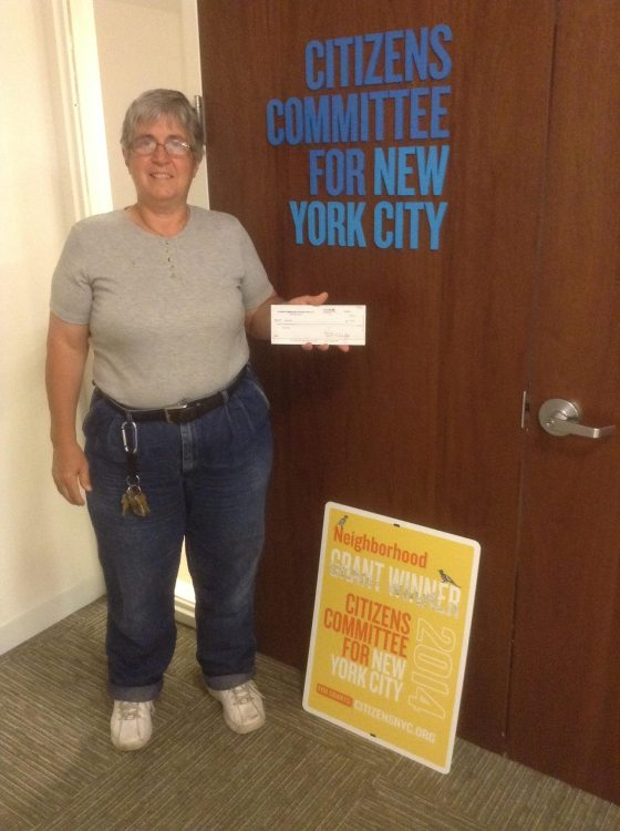 HarborLAB Facilities Manager Patricia Erickson picking up the shoreline greening grant check from Citizens Committee for NYC!