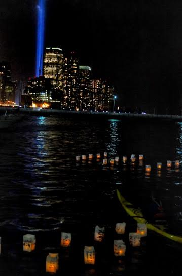 Obon floating lanterns on the Hudson River in a ceremony produced by Dr. Rev. TK Nakagawa, Erik Baard, NY Kayak Co, and NY de Volunteer. Photo by TK Nakagawa.