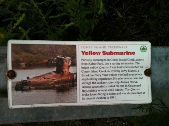 Informational sign about the Yellow Submarine provided by NYC Parks. Photo by Wendy Frank.