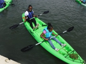 Happy novice kayakers.